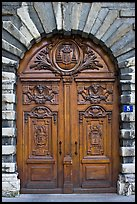 Historic wooden door. Lyon, France ( color)