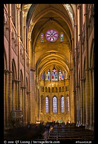 Gothic interior of Saint Jean Cathedral. Lyon, France (color)