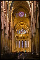 Gothic interior of Saint Jean Cathedral. Lyon, France ( color)