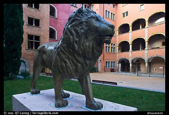 Lion sculpture, Maison des Avocats, historic district. Lyon, France (color)