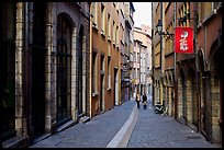 Rue du Boeuf, narrow historic street. Lyon, France ( color)