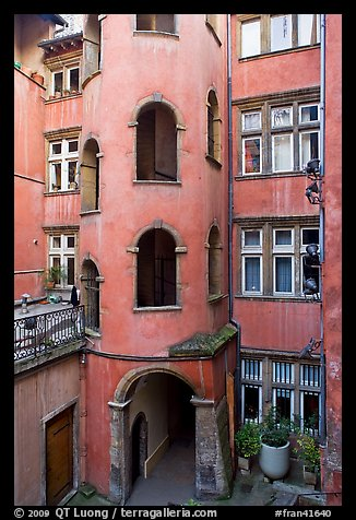 Base of the Tour Rose with traboule passageway. Lyon, France (color)