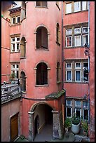 Base of the Tour Rose with traboule passageway. Lyon, France ( color)