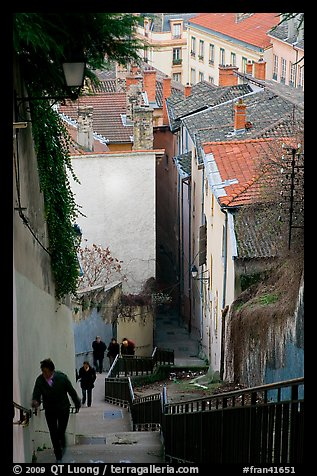 People climbing stairs to Fourviere Hill. Lyon, France (color)