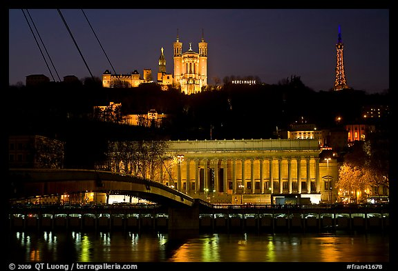 Passerelle, Palais de Justice, and Basilique Notre Dame de Fourviere by night. Lyon, France (color)