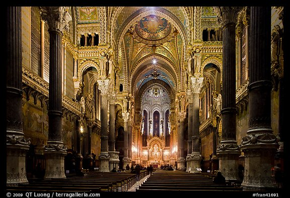 Inside Basilica Notre-Dame of Fourviere, in Romanesque and Byzantine architecture. Lyon, France (color)