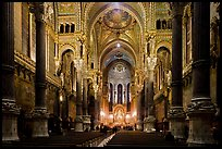 Inside Basilica Notre-Dame of Fourviere, in Romanesque and Byzantine architecture. Lyon, France ( color)