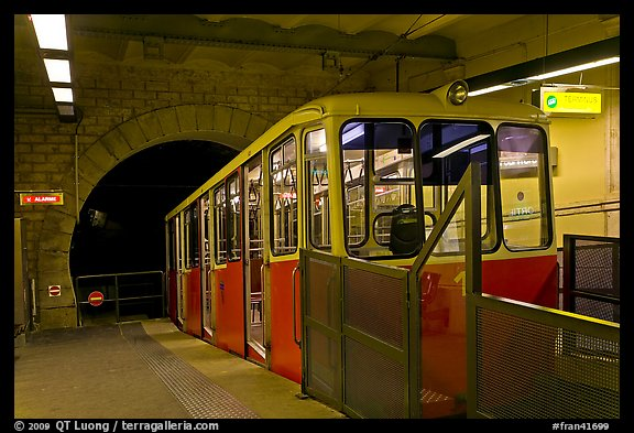 Funiculaire of  Notre-Dame of Fourviere hill, upper station. Lyon, France (color)