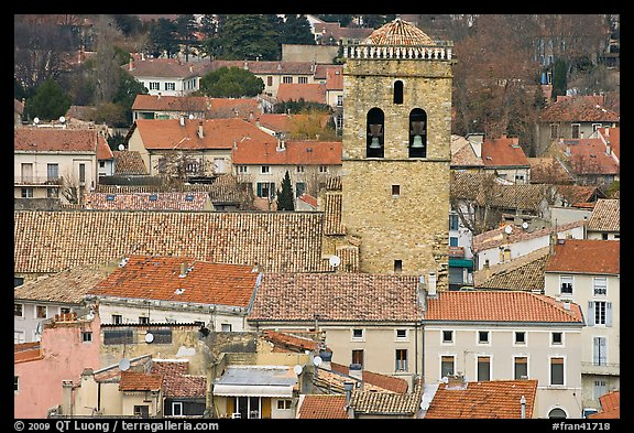 Red tile rooftops and church tower, Orange. Provence, France (color)
