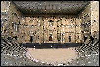 Tiered seats, orchestra, stage, and stage roof, Roman theater. Provence, France (color)