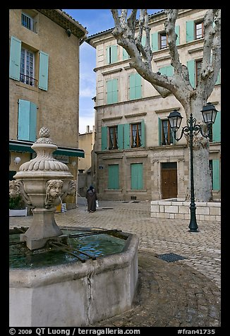 Fountain and town square, Orange. Provence, France (color)