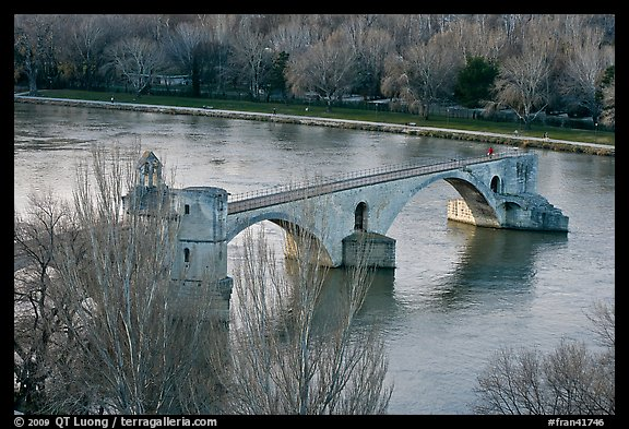 Pont St Benezet and Rhone River. Avignon, Provence, France (color)