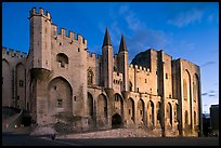 Papal Palace at dusk. Avignon, Provence, France (color)