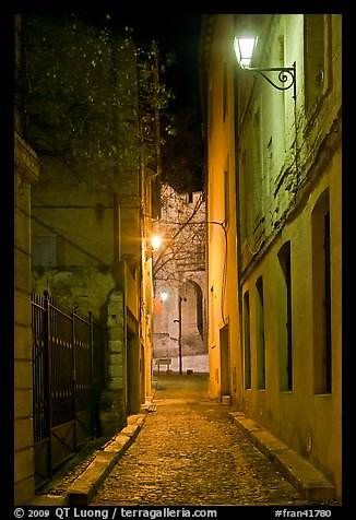 Narrow street leading to Palais des Papes at night. Avignon, Provence, France (color)