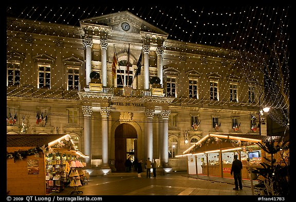 City Hall with Christmas Lights. Avignon, Provence, France (color)