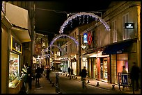 Commercial street at night. Avignon, Provence, France (color)