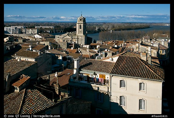 View of the city center with Rhone River. Arles, Provence, France (color)