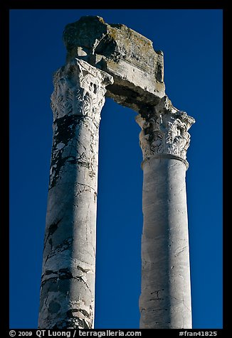 Ruined columns of the antique theatre. Arles, Provence, France (color)