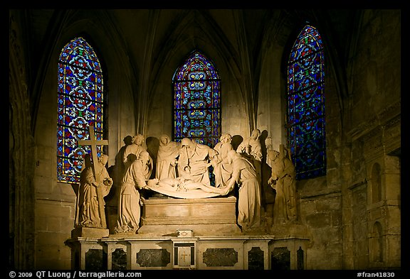 Lit sculpture of Christ laid to rest, St Trophime church. Arles, Provence, France (color)
