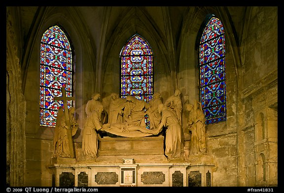 Christ sculpture and stained glass windows, St Trophime church. Arles, Provence, France (color)