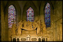 Christ sculpture and stained glass windows, St Trophime church. Arles, Provence, France