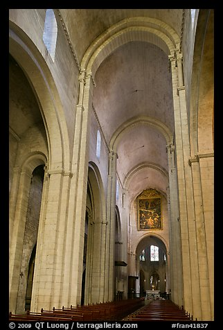 Romanesque style nave, St Trophime church. Arles, Provence, France (color)