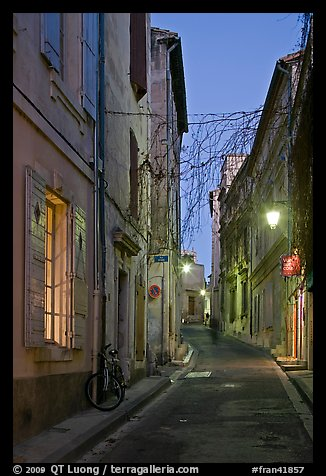 Narrow street at night. Arles, Provence, France (color)
