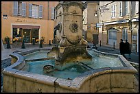 Fountain in old town plaza. Aix-en-Provence, France