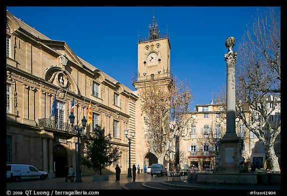 City hall and plaza. Aix-en-Provence, France (color)