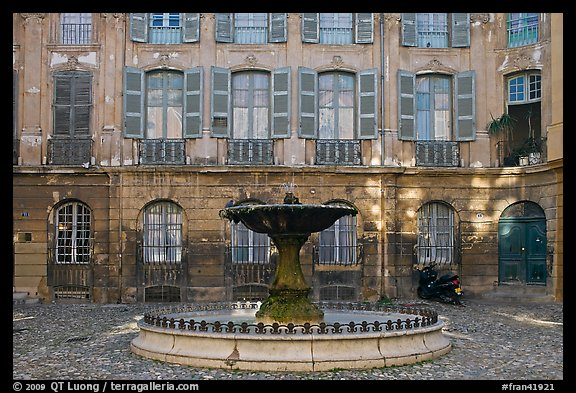 Fountain in courtyard. Aix-en-Provence, France (color)