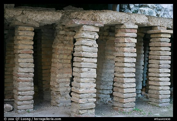 Brick pilars in baths of Constantine. Arles, Provence, France (color)