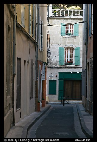 Narrow street in old town. Arles, Provence, France (color)