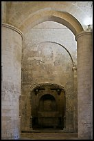 Columns inside romaneque St Honoratus church, Alyscamps. Arles, Provence, France