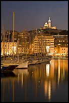 Old Harbor and Basilica Notre Dame de la Garde. Marseille, France (color)
