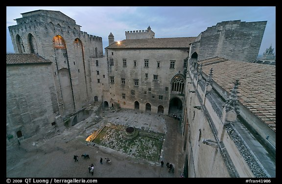 Honnor courtyard and walls from above, Palace of the Popes. Avignon, Provence, France