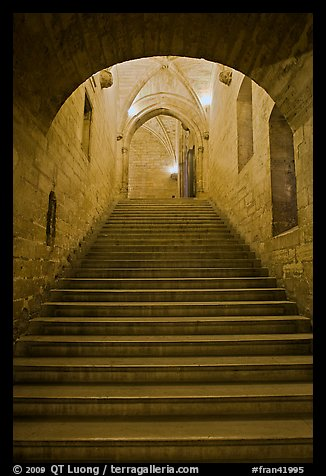 Stairs inside Palace of the Popes. Avignon, Provence, France (color)