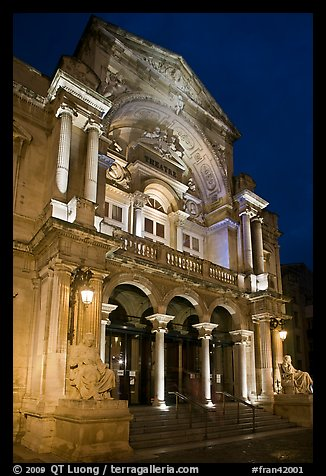 Theater at night. Avignon, Provence, France (color)