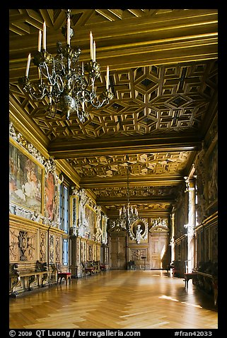 Gallerie Francois 1er, Fontainebleau Palace. France (color)