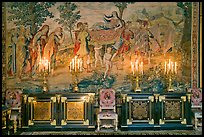 Furniture, lights, and tapestry, Chateau de Fontainebleau. France (color)