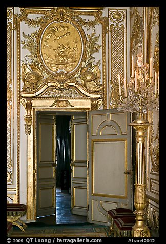 Fontainebleau Palace interior with richly decorated walls. France (color)