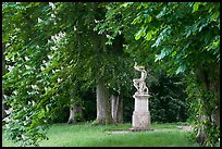 Sculpture, Horse chestnut trees (Aesculus hippocastanum), Chateau de Fontainebleau. France ( color)