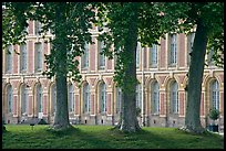 Trees and facade, Fontainebleau Palace. France (color)
