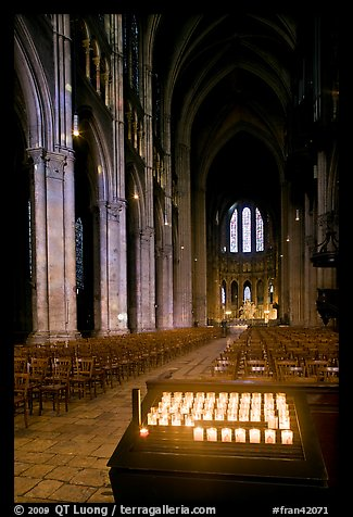 Candles, nave, and apse, Cathedral of Our Lady of Chartres,. France (color)