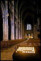Candles, nave, and apse, Cathedral of Our Lady of Chartres,. France