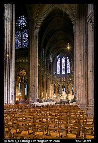 Transept crossing and stained glass, Chartres Cathedral. France (color)