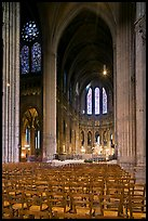 Transept crossing and stained glass, Chartres Cathedral. France