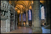 Ambulatory, chapel, and stained glass windows, Chartres Cathedral. France (color)