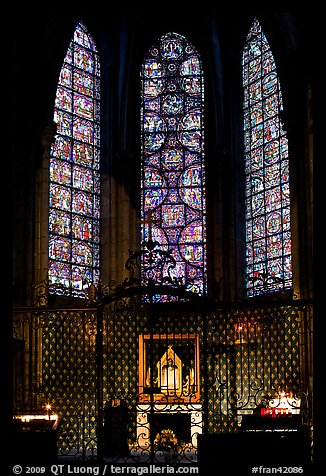 Chapel and stained glass windows, Chartres Cathedral. France (color)