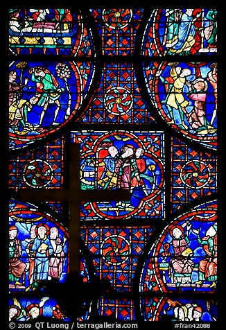 Stained glass window close-up, Cathedral of Our Lady of Chartres. France (color)