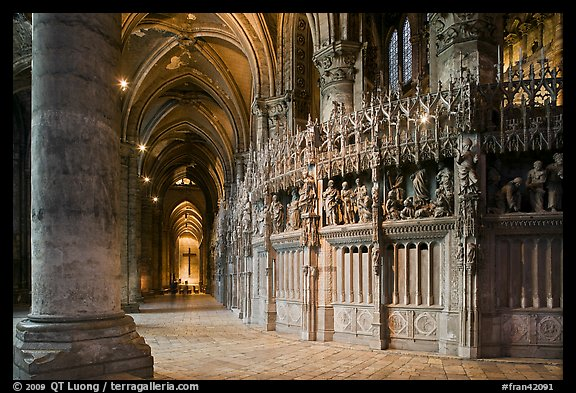 Sanctuary and Aisle, Cathedral of Our Lady of Chartres,. France (color)